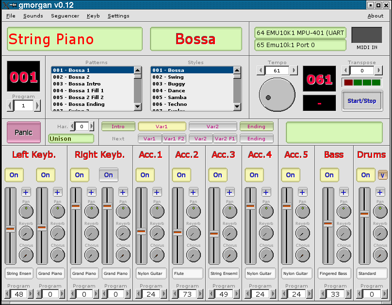MIDI rhythm station emulator software. a modern organ.